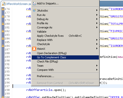 "The context menu of Eclipse showing the ""Go to complement class""."