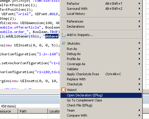 "The context menu of Eclipse showing the ""Open Declaration (EPlug)"" command."
