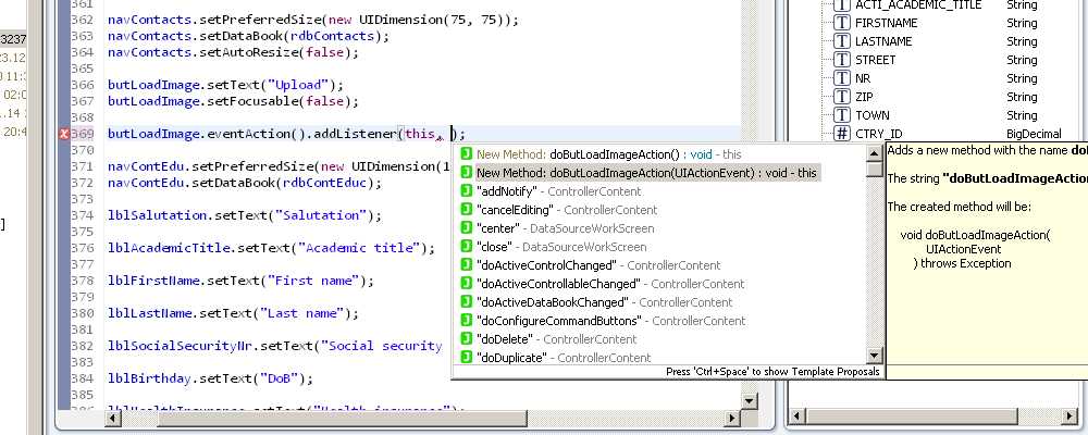 Showing the code completion for events.