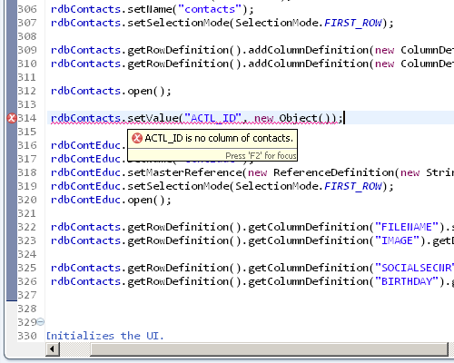 Showing the compile time checks of column names.