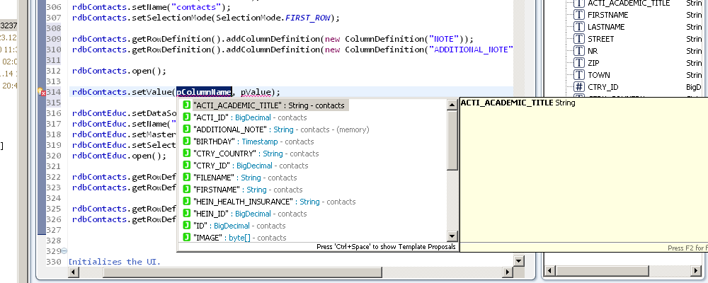 Showing the code completion of columns.