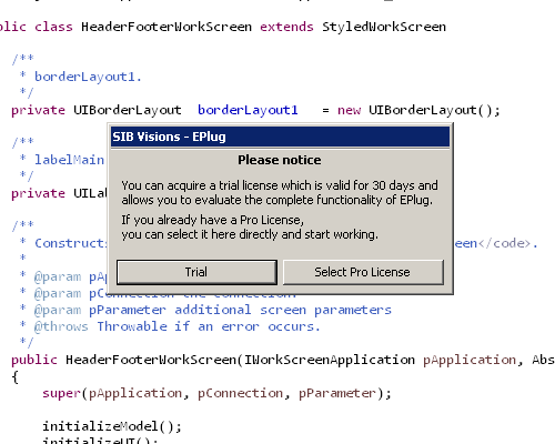 Showing the EPlug license welcome screen.