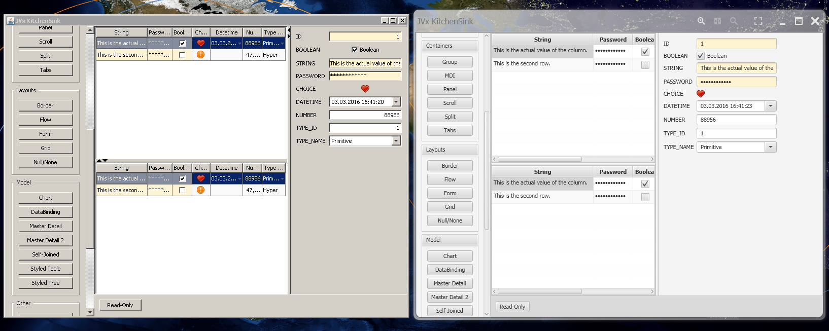 The JVx Kitchensink Application, Swing and JavaFX running side by side.