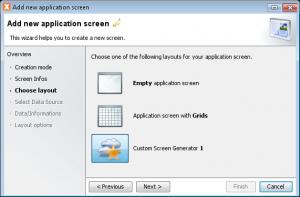 Custom screen generators