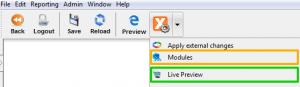 VisionX application menu
