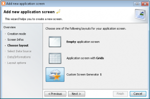 Customized screen generator wizard