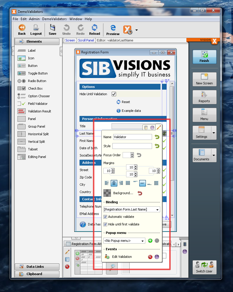 VisionX Validators - Properties