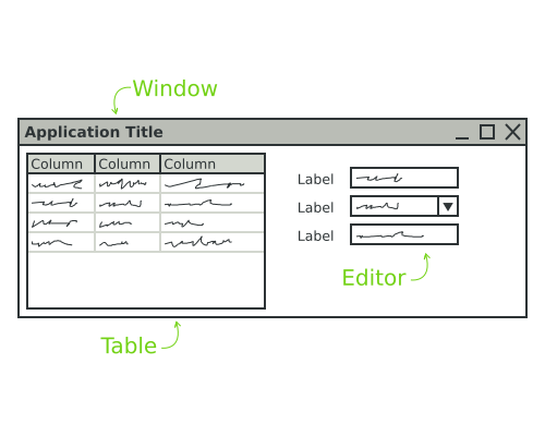 The layout of a simple screen with a table and a few editors.